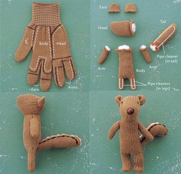 Peluche fabricado con un guante
