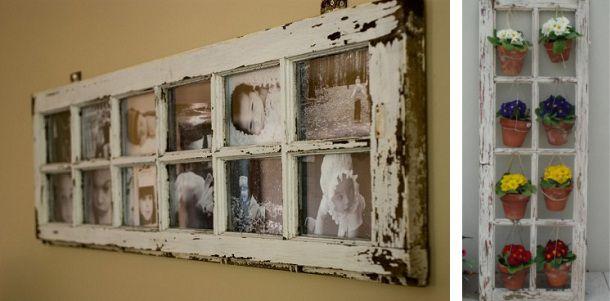 Reciclar puertas viejas en portafotos o colgador de macetas.